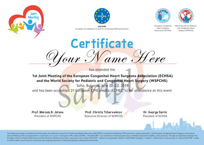 Joint meeting ECHSA WSPCHS Sofia Certificate sample